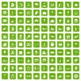 gräsplan för grunge för 100 skottpengarsymboler fastställd Royaltyfri Fotografi