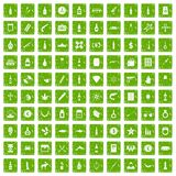 gräsplan för grunge för 100 smuggla godssymboler fastställd Arkivfoto