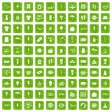 gräsplan för grunge för 100 sommarshoppingsymboler fastställd Royaltyfria Bilder
