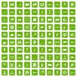 gräsplan för grunge för 100 sportjournalistsymboler fastställd Royaltyfri Foto
