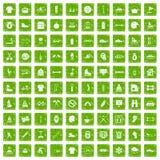 gräsplan för grunge för 100 sportlivsymboler fastställd Royaltyfria Bilder