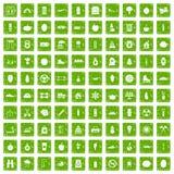 gräsplan för grunge för 100 sunda livsstilsymboler fastställd stock illustrationer
