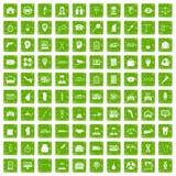 gräsplan för grunge för 100 symboler för affärsdag fastställd Arkivfoto