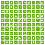 gräsplan för grunge för 100 symboler för affärskvinna fastställd Arkivbilder