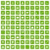 gräsplan för grunge för 100 symboler för affärsprocess fastställd Arkivfoto