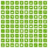 gräsplan för grunge för 100 symboler för appellmitt fastställd Arkivfoton