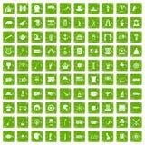 gräsplan för grunge för 100 symboler för bästa hatt fastställd Fotografering för Bildbyråer