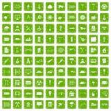gräsplan för grunge för 100 symboler för byggnadsmaterial fastställd Royaltyfri Foto