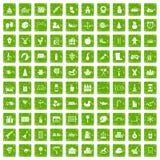 gräsplan för grunge för 100 symboler för förskole- utbildning fastställd Royaltyfria Foton