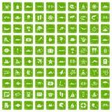 gräsplan för grunge för 100 symboler för havsliv fastställd Royaltyfria Foton