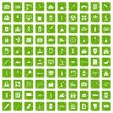 gräsplan för grunge för 100 symboler för kemisk bransch fastställd Royaltyfri Foto