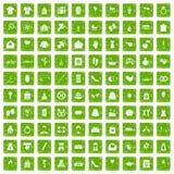 gräsplan för grunge för 100 symboler för kvinna lyckliga fastställd Arkivfoto