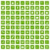 gräsplan för grunge för 100 symboler för lagbyggnad fastställd Royaltyfria Bilder