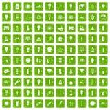 gräsplan för grunge för 100 symboler för ljus källa fastställd Royaltyfria Bilder