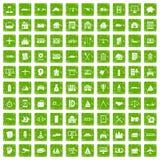 gräsplan för grunge för 100 symboler för privat egenskap fastställd Arkivbilder