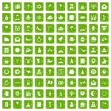 gräsplan för grunge för 100 symboler för religiös festival fastställd Royaltyfri Fotografi
