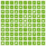 gräsplan för grunge för 100 symboler för sommarferier fastställd Royaltyfri Fotografi