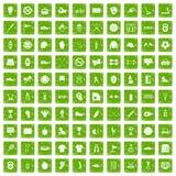 gräsplan för grunge för 100 symboler för sportutrustning fastställd Arkivfoton