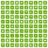 gräsplan för grunge för 100 symboler för trädgårds- material fastställd stock illustrationer