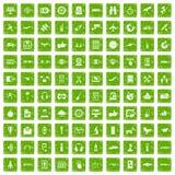 gräsplan för grunge för 100 symboler för trådlös teknologi fastställd Royaltyfri Bild