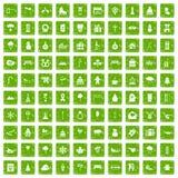 gräsplan för grunge för 100 symboler för vinterferier fastställd Arkivbild