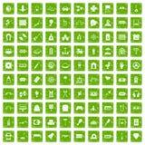 gräsplan för grunge för 100 underhållningsymboler fastställd Royaltyfria Bilder