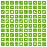 gräsplan för grunge för 100 ungeaktivitetssymboler fastställd Royaltyfri Fotografi