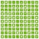 gräsplan för grunge för 100 utbildningssymboler fastställd Arkivbilder
