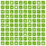 gräsplan för grunge för 100 utrustningsymboler fastställd Royaltyfri Foto