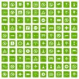 gräsplan för grunge för 100 vägmärkesymboler fastställd Royaltyfri Foto