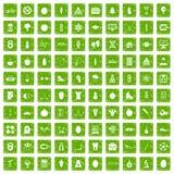 gräsplan för grunge för 100 väl personsymboler fastställd Arkivfoto