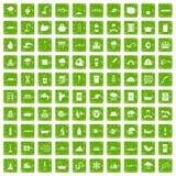 gräsplan för grunge för 100 vattenförsörjningsymboler fastställd Arkivfoto