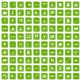 gräsplan för grunge för 100 vattenrekreationsymboler fastställd Royaltyfri Foto