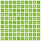 gräsplan för grunge för 100 villasymboler fastställd Royaltyfri Foto