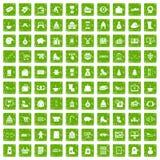 gräsplan för grunge för 100 vintershoppingsymboler fastställd Fotografering för Bildbyråer