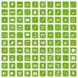 gräsplan för grunge för 100 webdesignsymboler fastställd Arkivfoton