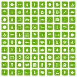 gräsplan för grunge för 100 wellnesssymboler fastställd Arkivfoton
