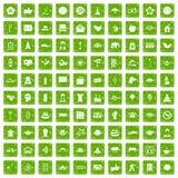 gräsplan för grunge för 100 yogastudiosymboler fastställd Royaltyfri Bild