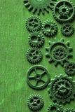 Gräsplan för hjul för Steampunk mekanisk kuggekugghjul Arkivbilder