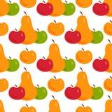 Gräsplan för textilen för päronet för illustrationen för den Apple bakgrundsvektorn bär frukt den sömlösa modellen Arkivbild