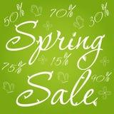 Gräsplan för vårförsäljningsbaner med illustrationen för sidafjärils- och blommavektor Royaltyfria Bilder