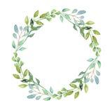Gräsplan för vattenfärgGarland Summer Greenery Wreath Wedding sidor Arkivfoto