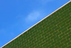 Gräsplan glasade tegelplattaväggen och den blåa himlen Fotografering för Bildbyråer