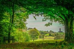 Gräsplan inramad irländare stenad kyrka Royaltyfria Foton