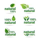 Gräsplan Logo Collection för uppsättning för symbol för Eco vänlig organisk naturproduktrengöringsduk Royaltyfria Bilder