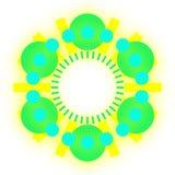 Gräsplan- och blåttbollar i en cirkelvektor Royaltyfria Foton