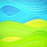 Gräsplan- och blåttvågbakgrund Arkivfoto