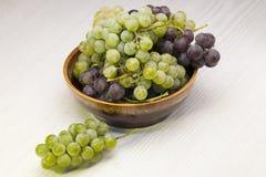 Gräsplan och burgundy druvor Fotografering för Bildbyråer