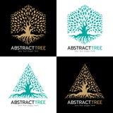 Gräsplan och guld- sexhörnig och för trädlogo för triangel abstrakt för vektor för konst design vektor illustrationer