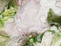 Gräsplan- och rosa färgabstrakt begrepphanden målade bakgrund, akrylpaintin Fotografering för Bildbyråer